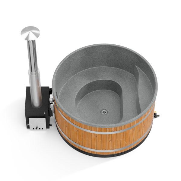bain nordique Family L thermowood avec coque grise