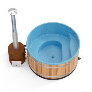 bain nordique nordikspa family L red cedar avec coque bleu océan