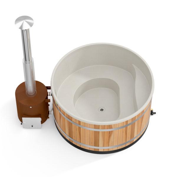 bain nordique family L nordikspa red cedar avec coque couleur beige